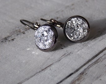 Druzy Earrings, Faux Druzy ,Dangle Drop Earrings,Fashion Earrings, Sparkling Silver Gunmetal Druzy Earrings