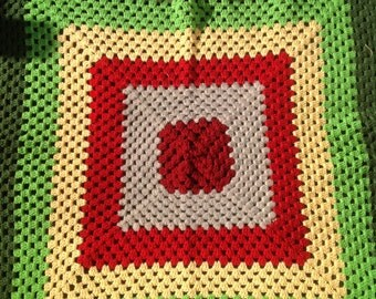 REDUCED Lovely lap/ couch/ daybed crochet blanket in bold color blocks of red, greens, yellow and grey