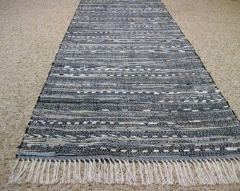 Dark Blue Handwoven Rag Rug 25 x 104