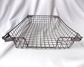 Vintage Wavy Wire Desktop Basket Tray wUnusual Corners for Papers or Files