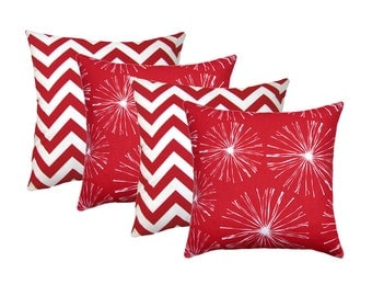 red white stuffed pillow zigzag lipstick pillow red starburst accent pillow chevron red