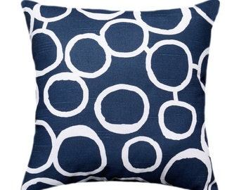 Navy Throw Pillow - Freehand Navy and White Retro Circle Decorative Throw Pillow + Free Shipping