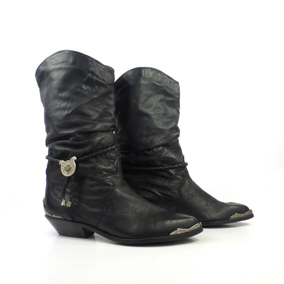 Zodiac Leather Boots Vintage 1980s Short Black Cowboy