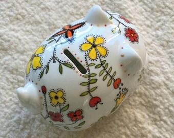 Porcelain Piggy Bank - Vintage or Construction vehicles