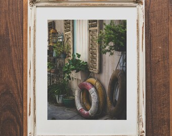Catalina Island travel photo print - European alley wall art - Vintage European style home decor - Nautical and beach decor - Life preserver