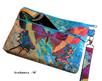 iPhone 6 Plus Otterbox Wristlet, Cell Phone Case,  X-Large Wristlet Wallet, Checkbook/ Galaxy Note Purse, Butterfly