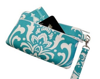 iPhone 6 Plus Wristlet, Cell Phone Case,  X-Large Wristlet Wallet, Checkbook/ Galaxy Note Purse, Turquoise Damask