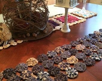 Blue homespun fabric Yoyo primitive tablerunner
