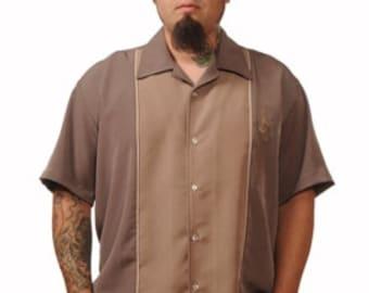 Men's Bowling Shirt, Brown Shirt, Cigar Shirt, Short Sleeve, Embroidered Shirt, Two Toned Shirt, Size 2X, Rockabilly Shirt