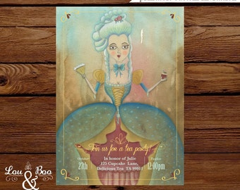 Printable Marie Antoinette High Tea Party invitation
