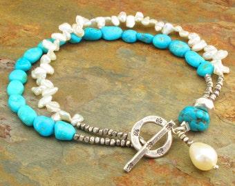 Sleeping Beauty Turquoise Keishi Pearl Hill Tribe Silver Bracelet -