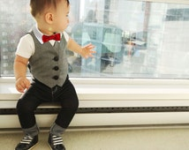 Baby Boy Dressy Outfit | Boys Spring Summer Clothes | Toddler Boy Vest Suit | Red Bowtie Denim Jeans First 1st Birthday Wedding Outfit