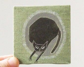 black cat / original painting on canvas