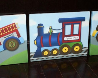 Set of 3 Transportation Firetruck Tow Truck and Train Stretched Canvases Baby Nursery CANVAS Bedroom Wall Art 3CS049