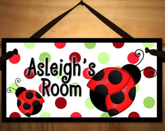 Red Mod Ladybug Girls Bedroom DOOR SIGN DS0373