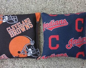 Cleveland Browns & Indians Fabric Cornhole Bags- FREE SHIPPING - Set of 8 Cornhole or Baggo Bean Bag Toss