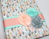 BABY Milestone Journal / Baby Book / Memory Book / Boho Baby Book / Mom Journal / Coral and Mint Feathers / Baby Girl book / Baby Gift