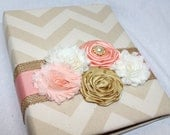 Guest Book, BABY Shower Guest Book, Peach and Gold Baby Shower, Baby Girl Shower, Rustic Chic, Burlap, Pink Guest Book, Tan Chevron, Custom