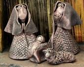 Mini Nativity, Ceramic Holy Family, Bronze Finish