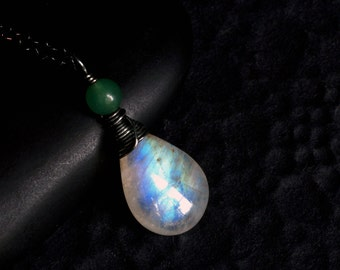 "Rainbow Moonstone Necklace with Green Onyx by CircesHouse on Etsy - ""Woodmoon"" by CircesHouse on Etsy"