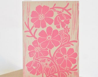 Cosmos Block-printed Card