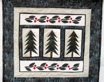 Quilted winter wall art majestic fir trees wall hanging Quiltsy handmade