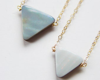 SALE Opal Triangle Gold Necklace OOAK