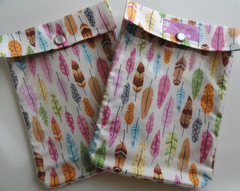 Medium Ouch Pouch (or No Label) Clear Front First Aid Organizer for Work School Vacation Diaper Bag (5x7 Colorful Feathers Fabric)