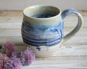 Handmade Rustic Blue and White Mug Pottery Coffee or Tea Cup Wheel Thrown Ready to Ship Made in USA