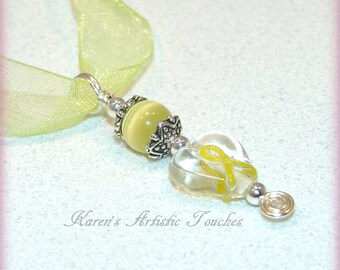 Cancer Awareness Yellow Ribbon Clear Heart Beaded Glass Pendant