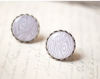 Like a wood earrings - White wood texture - Ivory earring studs - Beige earrings (E011)