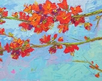ART Floral painting, original oil artwork, modern impressionism, palette knife work, colorful, impressionistic art, gift idea, home decor