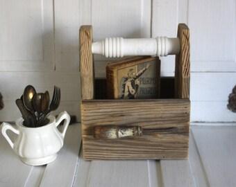 Farmhouse Caddy- Wood Tote- Reclaimed Wood- Repurposed Wood- Natural Rustic Tote- Junk Chic