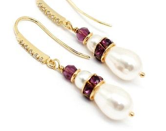 Pearl Earrings Gold, Amethyst Eggplant White Earrings, Bridesmaids Gold Swarovski Jewelry, CZ Vermeil Sterling Silver, Wedding Pearl Jewelry