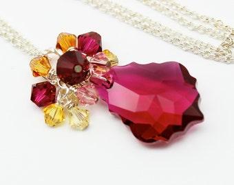 Ruby Pink Topaz Necklace, Baroque Swarovski Crystal Silver, Cluster Bridesmaids Bridal Ruby Purple Jewelry