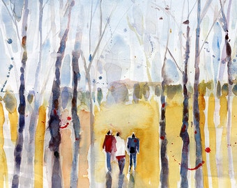 Original Watercolor -  Wandering People in New Hampshire in Autumn
