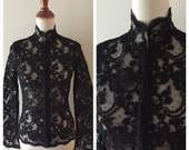Vintage MYRTH neo-edwardian style jacket / black lacey jacket