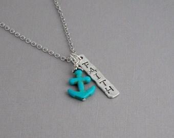 Faith Anchor necklace / Turquoise Anchor necklace