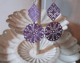 Purple filigree earrings