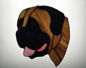 Mastiff Suncatcher in Stained Glass