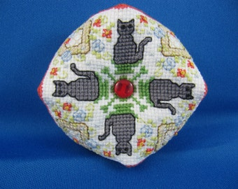 Miniature Biscornu Pincushion with Cross Stitched Kittens
