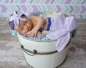 Lavender Newborn Mermaid Tail Photo Prop, 0 to 3 Month Purple Mermaid Halloween Costume