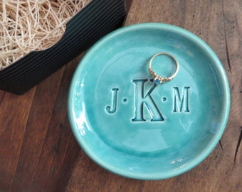 ring holder, wedding ring dish,  CUSTOM monogram gift, Large jewelry dish, Aqua Blue Green Glaze