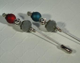 Gray Hijab Pins Set, Hat Pin, Stick Pins, Scrapbooking, Beaded Hijab Pins, Hat Pin Set
