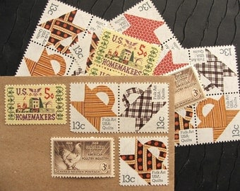 Country Quilts .. UNused Vintage Postage Stamps  .. post 5 letters