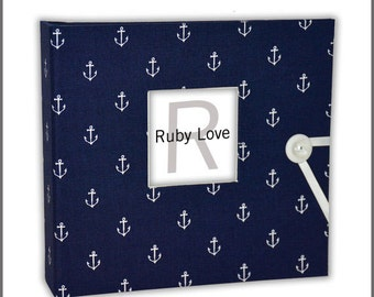 BABY BOOK | Navy Anchors Baby Book - Ruby Love Modern Baby Memory Book