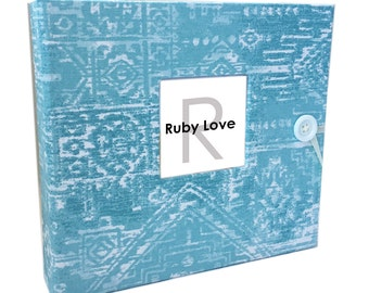 BABY BOOK | Aqua Sioux Tribal Baby Book | Ruby Love Modern Baby Memory Book