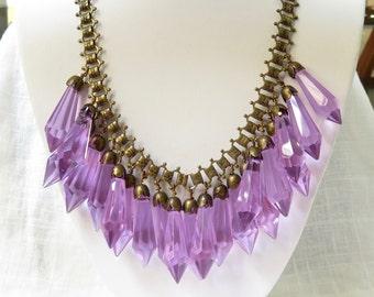 Beautiful Vintage Czech 1930s Amethyst Crystal Necklace