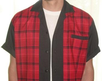 Men's Rockabilly Shirt Jac Retro Red & Black Plaid