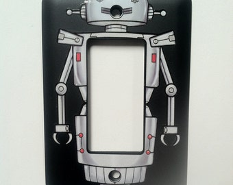 Robot Light Switch Cover - For Modern or Rocker light switch - BLACK plate with robot decal sticker